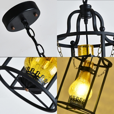 Traditional Cylinder Cage Hung Pendant Steel and Glass 1 Bulb Ceiling Pendant with Chain for Dining Table