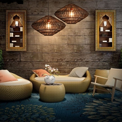 Weave Geometric Suspension Light Natural Modern 1 Light Hanging Light Fixture for Sitting Room