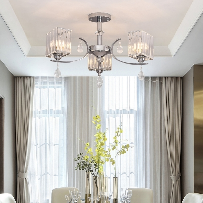3 Lights Rectangle Chandelier Clear Glass Modern Ceiling Pendant in Chrome with Crystal Bead