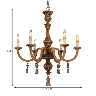 6 Light Exposed Bulb Chandelier with Candle Village Style Metal Hanging Lamp in Rust