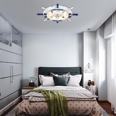 8 Bulbs Rudder Flush Lighting Nautical Style Wood Ceiling Flush Mount for Boys Bedroom
