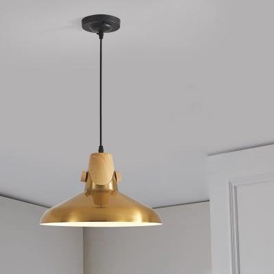 Aged Brass Single Pendant Light With Metal Shade Mid Century Modern
