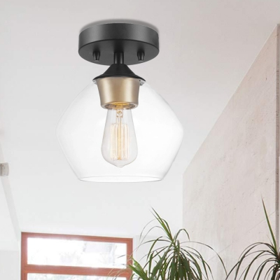 Black and Brass Semi Flush Mount Light Aged Metal 1 Head Semi-Flush Light with Clear Glass Shade for Indoor
