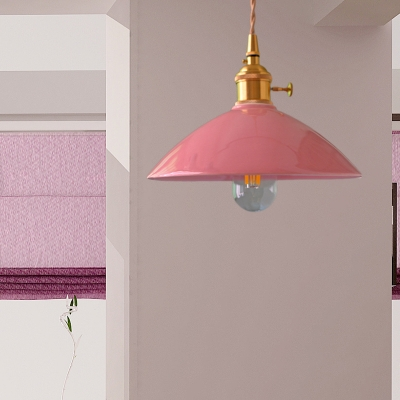 Brass Finish Pendant Lights Modern Industrial Iron Single Bulb Hanging Ceiling Lights with Cone Shade, HL559361, Blue;pink;white;purple