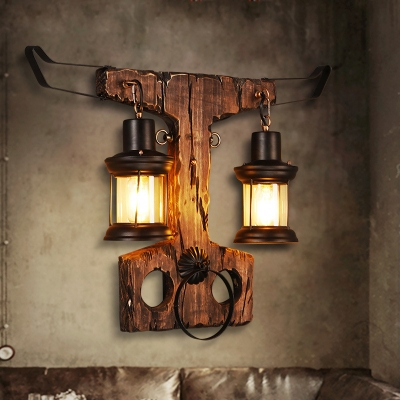 Bull Sconce Lights Coastal Iron 2 Heads Sconce Light Fixture with Wooden Base for Coffee Shop, HL560427