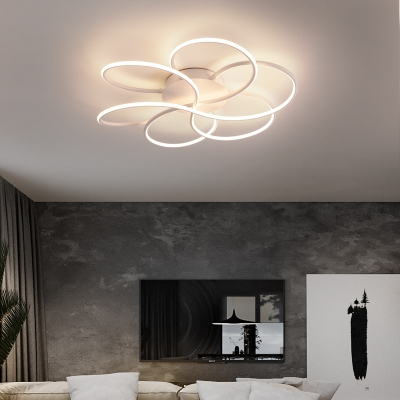Floral Ceiling Flush Light Modernism Metal and Acrylic Integrated Led Flush Mount Light