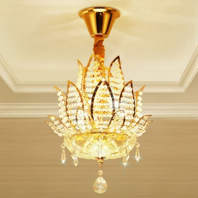 Gold Lotus Ceiling Light Fixture Modern Metal Crystal Ceiling Lights for Corridor and Living Room HL561040 фото