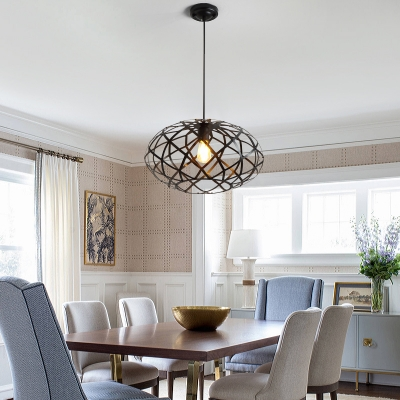 Modern Industrial Oval Pendant Lighting Iron 1 Bulb Hanging Edison Lights in Black for Dining Room, HL559248