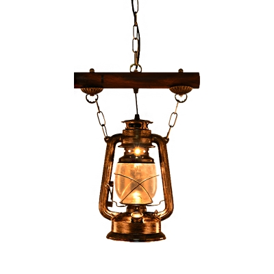 Olde Bronze Ceiling Pendant Lights Mediterranean Iron and Glass 1 Head Hanging Pendant Lights with Wood for Restaurant