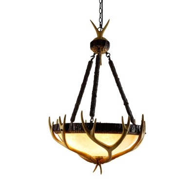 Rustic Stylish Chandelier Light Wood and Glass Hanging Lamp with Antlers for Lodge