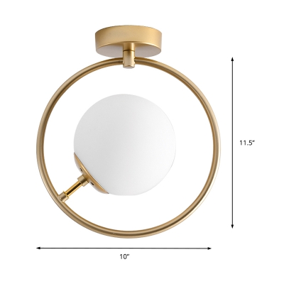 Spherical Flush Mount Lighting Art Deco Frosted Glass 1 Light Ceiling Lamp in Gold