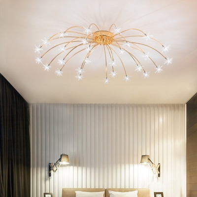 Star Bedroom Semi Flush Light Metal 12/15/21/28 Light Contemporary Flush Mount Ceiling Light in Gold