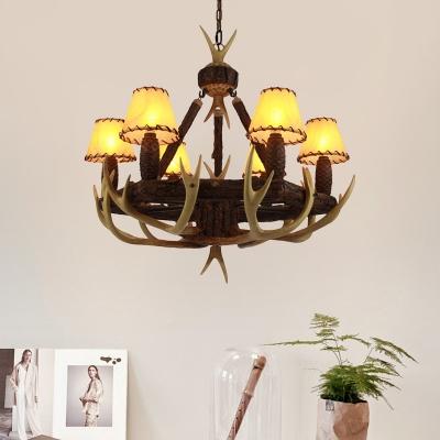 Tapered Hanging Light with Resin Antler 6 Light Village Chandelier Lamp for Resturant