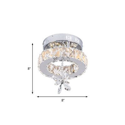 Unique Floral Ceiling Light Fixture Contemporary Crystal Metal Round Ceiling Fixture for Indoor