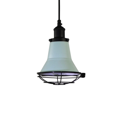 Vintage Industrial Bell Ceiling Lights 1-Light Pendant Ceiling Light with Metal Cage Shade for Study