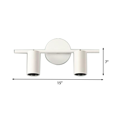 White/Black Cylinder Sconce Light Nordic Style Metal 2/3/4 Heads Fixture Sconce Light for Vanity