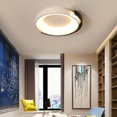 White Halo Flush Mount Light Nordic Simple LED Metal Ceiling Light Fixture for Bedroom