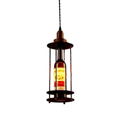 Wine Bottle Ceiling Pendant Lights Modern Glass and Iron 1 Head Hanging Pendant Lights for Bar