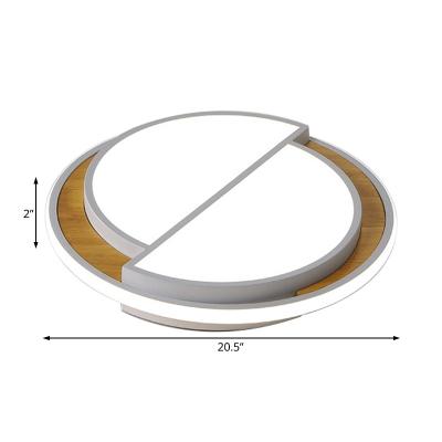 Wood Semicircle Ceiling Flush Lights LED Modern Simple Flushmount Light Fixture in Black/White
