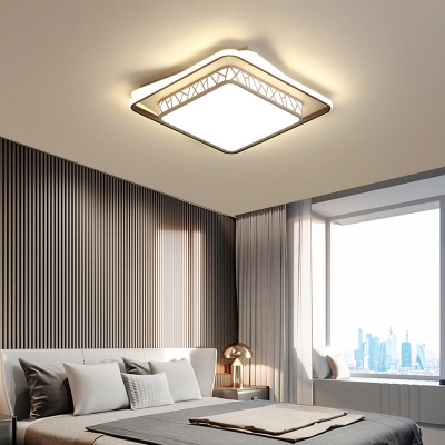 Acrylic Shade Geometric Led Ceiling Flush Light Modern Close to Ceiling Light in White