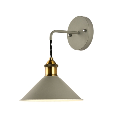 Antique Brass Cone Sconce Lamp Loft Industrial Metal 1-Light Sconce Light for Bedside