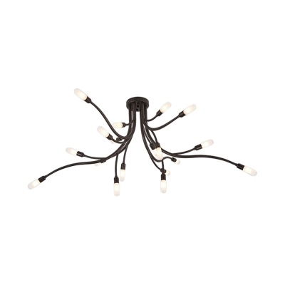 Branch Living Room Semi Flush Mount Metal 18-Light Modern Flush Mount Ceiling Light in Black/Gold
