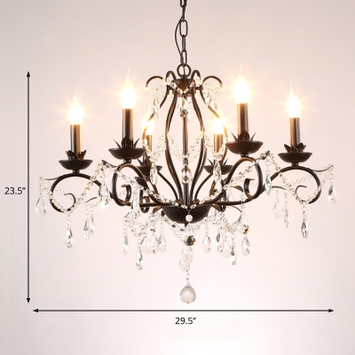 Candle Hanging Chandelier Traditional Iron and Crystal 6/8 Heads Lighting Fixture in Black for Bedroom