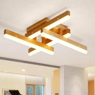 Crossed Lines Living Room Semi Flush Mount Wooden Modern Ceiling Light