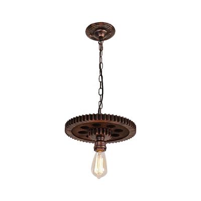 Gear Pendant Chandelier Antique Iron 1/6 Light Open Bulb Hanging Light Fixtures for Dining Room