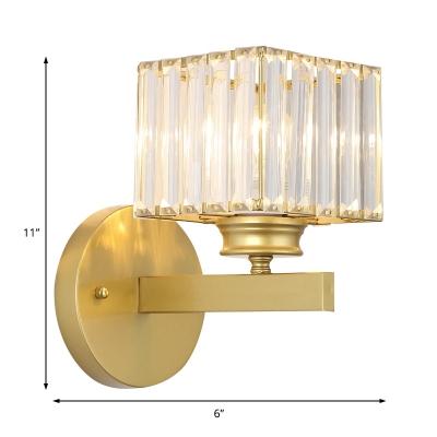 Gold/Black Crystal Sconce Light Modern Metal Single Light Wall Sconce Light Fixture for Bedroom