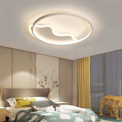 Halo Ring Flush Ceiling Light with Wavy Canopy Minimalist Acrylic Led Flush Mount Light