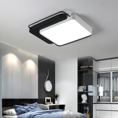 Living Room Square/Rectangle Acrylic Flush Mount Fixture Contemporary Black and White Ceiling Light