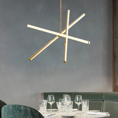 Metal Tube Chandelier Lighting Post Modern Led Hanging Ceiling Light with Warm Lighting