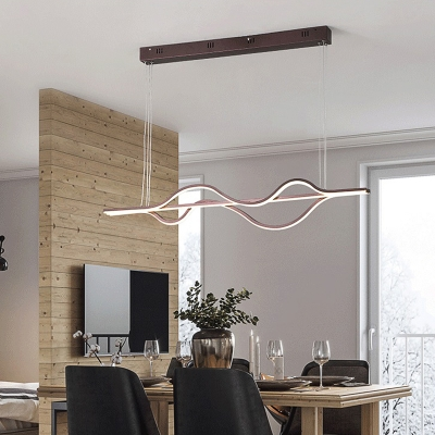 Modern Curved Chandelier Acrylic LED Kitchen Pendant Lighting with Adjustable Cord