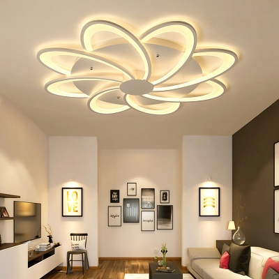 Modern Floral Flushmount Lighting Acrylic White Led Flush Ceiling Light with Round Canopy