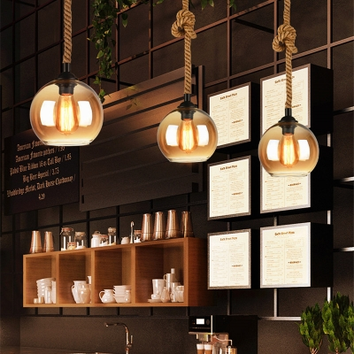 Modern Globe Hanging Lights Glass 1-Light Pendant Lighting Fixtures with Rope for Bar