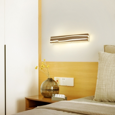 Modern Rectangle Wall Mounted Light White Oak Integrated Led Wall Lighting for Bedroom