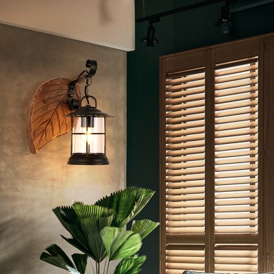 Nautical Lantern Wall Mounted Light Iron 1 Head Wall Sconce Light with Wooden Base for Foyer