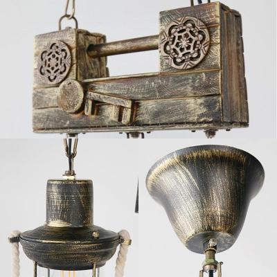 Olde Brass Pendant Lights Nautical Metal Single Light Lantern Lighting Fixture with Rope for Bar