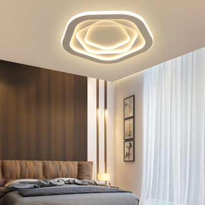 Pentagonal Bedroom Flush Light Fixtures Acrylic Shade LED Simple Style Ceiling Mounted Lights in White
