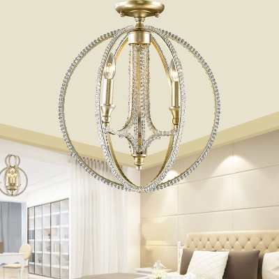 Silver Sphere Close to Ceiling Lighting Traditional Crystal Bead 3 Heads Candle Lighting for Living Room