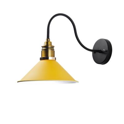 Single Bulb Cone Sconce Light Modern Industrial Metal Gooseneck Sconce Light Fixture