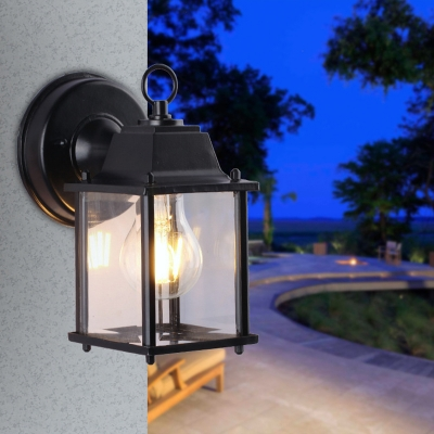 Square Sconce Wall Lighting Traditional Iron and Glass 1-Light Wall Mounted Lamps for Outdoor, HL559699