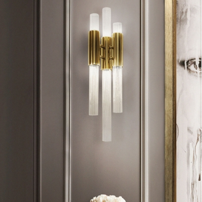Tube Wall Mounted Lights Contemporary Metal Glass 3 Lights Sconce Light Fixtures for Gallery