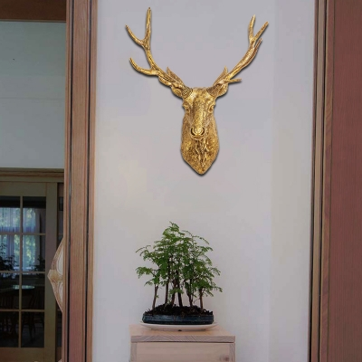 Vintage Stag Wall Mount Light Resin 1 Head Indoor Sconce Lighting for Living Room
