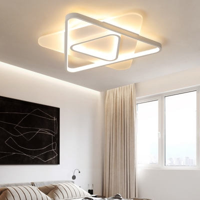 White Triangle Ceiling Flush Mount Light Contemporary Led Bedroom Flush Light