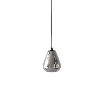 1 Light Gem Hanging Pendant Light Modern Glass Shade Hanging Ceiling Light with Adjustable Cord