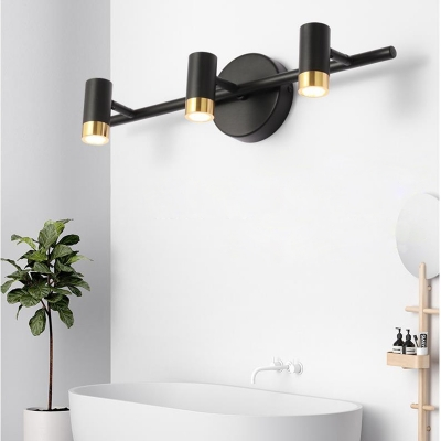 2/3/4 Heads Linear Sconce Light Fixture for Vanity, Modern Metal Rotatable Sconces in Black/White