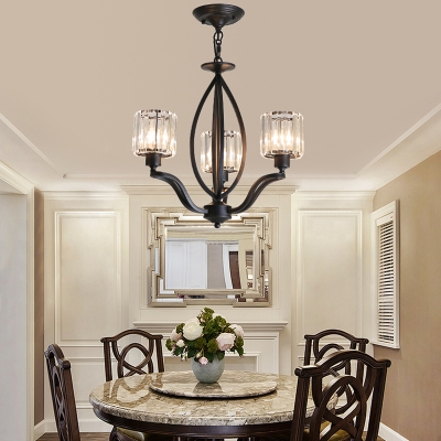 3/6 Lights Cylinder Ceiling Chandelier Modern Crystal Fringe Hanging Pendant Lights in Black for Indoor