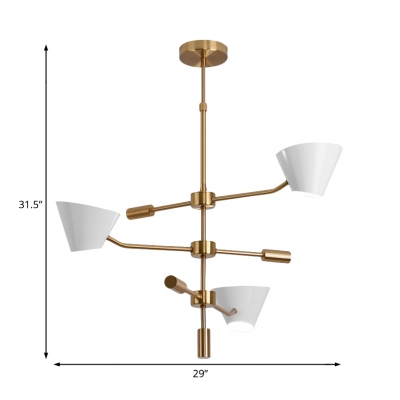 3 Tiers Chandelier Lighting with White Metal Shade Modern Style Hanging Light in Brass